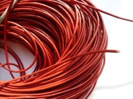 5 meter echt leren veter rood van 2mm dik - AA kwaliteit - SUPERLAGE PRIJS!