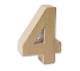 1929 3134- eco shape stevige decoratie cijfer van papier mache - 3D cijfer 4
