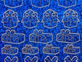 st681- holografische stickers cadeautjes blauw 10x20cm