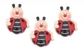8043 760- 3 stuks decoratie polyresin lieveheersbeestjes van 3cm