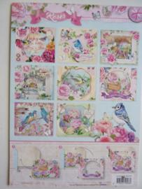 3057- blok met 8 stuks diorama gestanste kaarten 'roses' 14.8x10cm