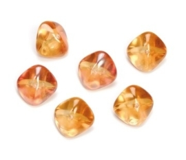 2204 324- 6 stuks glaskralen bohemisch oranje van 11x15mm in een doosje