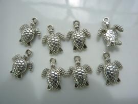 NA.17- 8 stuks bedels schildpad 16x12.5mm zilver