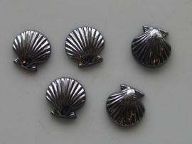 5148- 5 x schelp 9x9mm metallic grijs