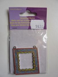 5938-  zwaar metalen embellishment kader met 2 oogjes 5x4.2cm OPRUIMING