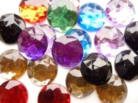 12 stuks strass stenen mix van 25mm kunststof diverse kleuren - SUPERLAGE PRIJS!