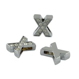 letter X - leerschuiver met strass steentjes zilver 13mm