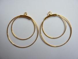 1 paar dubbele oorringen Creolen om aan oorhaakjes te hangen 4cm goudkleur