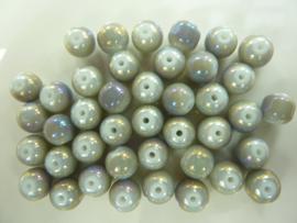 3308- 40 stuks ronde glaskralen van 8mm grijs AB