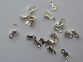 2 - 2.5 mm veterklemmen/koordkapjes verzilverd 20 stuks - CH.029.20 - SUPERLAGE PRIJS!