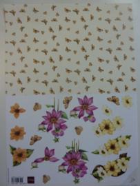 KN.198- 3D knipvel Mattie bloemen met achtegrond OPRUIMING
