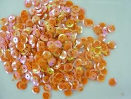 10 gram pailletten van 6mm facon geribbeld oranje AB (grote hoeveelheid) SUPERLAGE PRIJS!