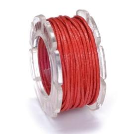 KN2290 420- 5 meter waxcord met nylonkern rood 1mm dik