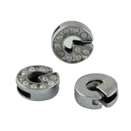 letter G - leerschuiver met strass steentjes zilver 13mm