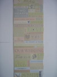 """5581- K&Co embossed stickers """"love trouwen"""" 30x12cm"""
