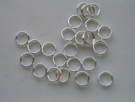 25 x dubbele ringetjes 5mm zilver