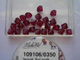 109106/0350 - 25 x swarovski 6mm robijn rood