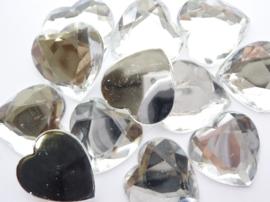 12 stuks XL kunststof strass stenen hart 25x25mm zilver - SUPERLAGE PRIJS!