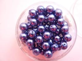 50 x ronde glasparels in een doosje 6mm donkerblauw - 2219 650