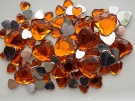 2282 0224- 80 x kunststof strass stenen assortiment hartjes van 8 tot 18mm lang oranje
