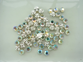 000530-370030/161- 72 stuks crystal rijgstrass / naaistrass SS30 6.4mm crystal AB