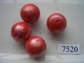 7520- 18mm rode kunststofkraal marmer