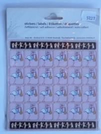 5727- glitter stickervel 15x15cm roze ooienvaar OPRUIMING