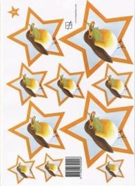 kn/1511- A4 knipvel Marjoleine ster 1 roodborstje - 117140/0113