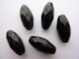1683- 5 stuks glaskralen van 30x14mm faccet ovaal zwart