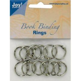 JOY6200/0120- 12 stuks boekbinders-ringen van 20mm zilver