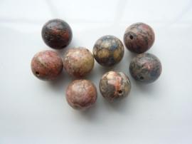 3298- 8 stuks gemstone red leopard skin kralen van 12mm