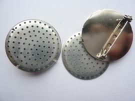 5955- 2 stuks zeefbroches van 35mm staalkleur