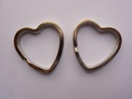 CH.564/2- 2 stuks sleutelringen hartvorm - stevige zware kwaliteit