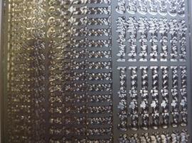 st1077- stickervel zilver met mini tekst hartelijk gefeliciteerd 10x20cm
