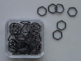 12093/9309- 50 x ringetjes 6-hoekig antraciet 7mm