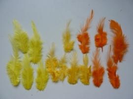 12235/3505- ca. 15 stuks hanenveertjes van 5 - 11 cm lang l.geel-d.geel-oranje