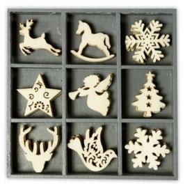 1852 1027- box met 45 stuks houten ornamentjes kerst no.3 10.5x10.5cm