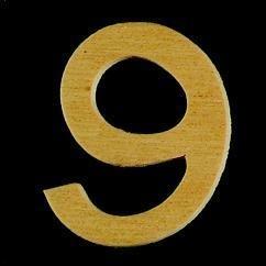 8735 643- 4cm houten cijfer 9