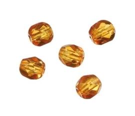 2206 236- 80 stuks facet geslepen glaskralen van 4mm topaas in een doosje