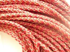 CH.061- 2 meter gevlochten leren veter van 3mm dik roodbruin