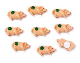 8022 453- 8 stuks decoratie polyresin varkens zelfklevend van 2cm