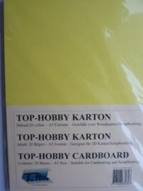 02- 20 vellen kaartkarton A5 formaat voor dubbele kaarten ca.225grams narcis geel
