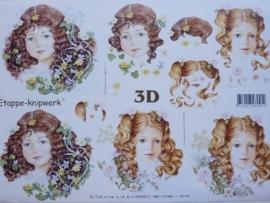 kn/716- A4 3D knipvel Le Suh gezichtjes