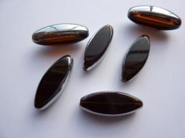 3691- 6 stuks electroplated glaskralen 30x12x6mm hoogglans bruin/zilver - SUPERLAGE PRIJS!