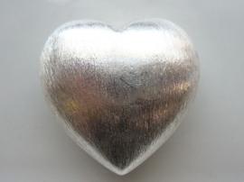 117465/3729- zwaar metalen kraal geborsteld groot bol hart 40x40mm