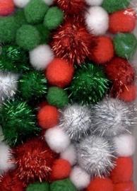 CE800600/3302- 50 stuks pompoms van 2 tot 3.5cm rood/wit/groen/zilverglitter