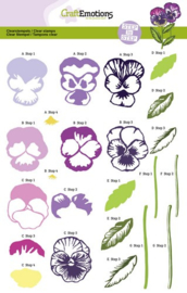 CE130501/2002- Craft Emotions clearstamps A5 - step by step - sweet violets