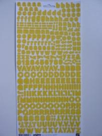 5911- Basic Grey sugar rush micro mono alfabet stickers geel 30x14.5cm OPRUIMING