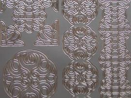 st 636- ornamenten en brede rand zilver 10x20cm