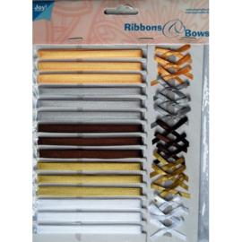 6310/0002- 15 kleuren lint van 6mm breed & 15 strikjes van 3.5cm breed in herfstkleuren